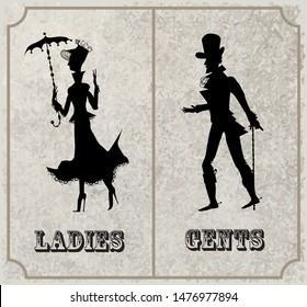 Victorian lady and gentleman symbol. Toilet Sign, vector format. Vintage Vector silhouettes (for WC use for example)