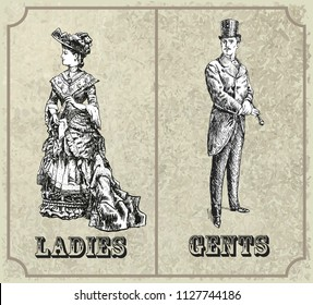 Victorian lady and gentleman. Toilet Sign. Vintage Victorian Era Engraving style retro vector lineart Hand drawn sketch illustration