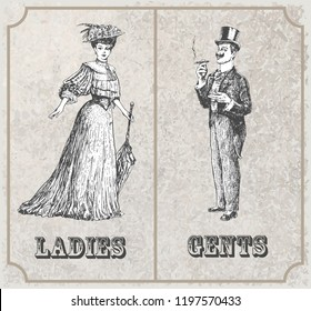 Victorian lady and gentleman. Toilet Sign. Symbolical image of the man and woman. Vintage Victorian Era engraving style retro vector lineart Hand drawn sketch illustration