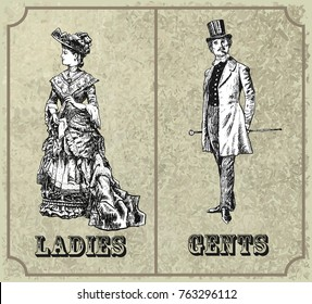 Victorian lady and gentleman. Toilet Sign, vector format. Vintage Victorian Era Engraving style retro vector lineart Hand drawn sketch illustration, woodcut style