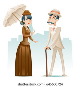 Victorian Lady Gentleman Wealthy Cartoon Characters Icons on Stylish English City Background Retro Vintage Great Britain Design Vector Illustration