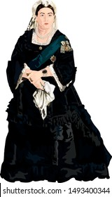 Victorian Monarch Queen Victoria of the United Kingdom of Great Britain & Ireland and Empress of India Vector