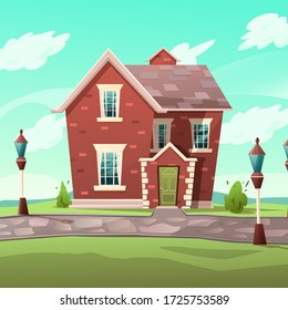 Victorian retro style building. Cartoon illustration of a red brick apartment house on nature landscape. Vector.