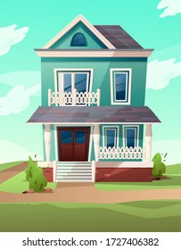 Victorian retro style building. Cartoon illustration of a green apartment house on nature landscape. Vector.