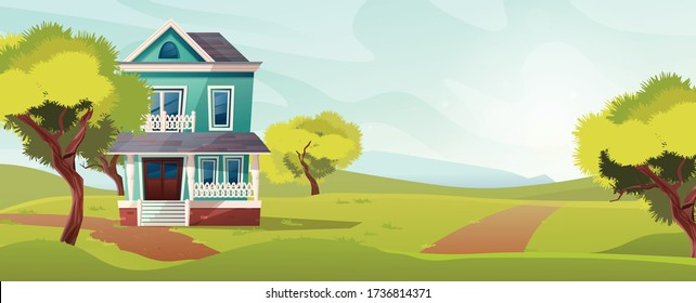 Victorian retro style building. Cartoon illustration of an apartment house on nature landscape. Vector.
