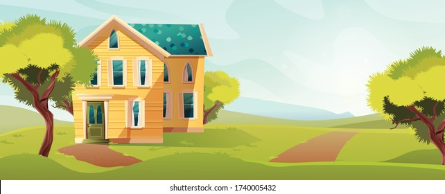 Victorian retro style building. Cartoon illustration of a yellow apartment house on nature landscape. Vector.