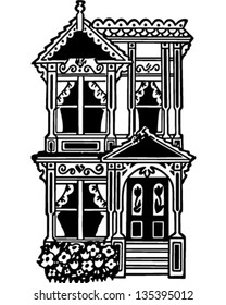 Victorian Row House - Retro Clip Art Illustration