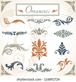 Victorian Scroll Ornaments - A collection of various scroll ornaments.  Objects are grouped and file is layered.