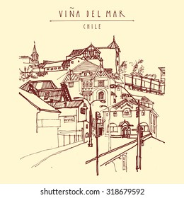 Victorian style architecture in Vina del Mar, Chile, South America. Hand drawn vintage postcard or postcard template in vector