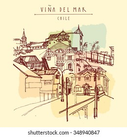Victorian style architecture in Vina del Mar, Chile, South America. Hand drawn vintage postcard. Vector illustration