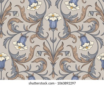 Victorian style blue bellflowers with twisted leaves on beige background. Elegant seamless pattern for textile design and decoration