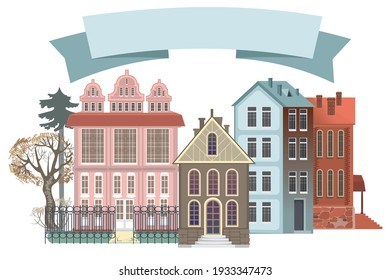 Victorian style houses with fences and trees