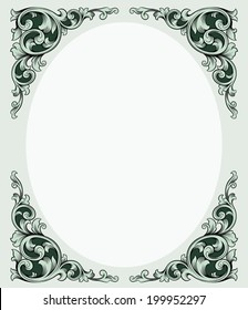 Victorian style rectangle border vector illustration