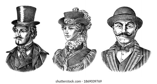 Victorian and woman gentleman with hat and mustache. Belgian Man and lady in vintage retro style. Vector illustration. Antique old monochrome character. Hand drawn engraved retro sketch.