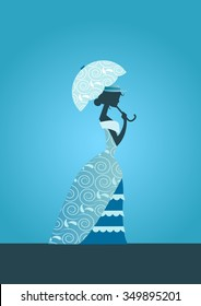 Victorian woman silhouette with umbrella