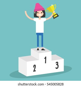 Victory conceptual illustration. Young girl standing on the pedestal and holding a champion cup / flat editable clip art illustration
