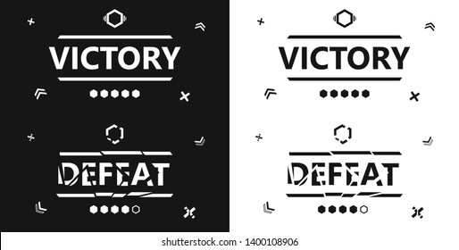 Victory, Defeat, greeting card with trendy geometric shapes on solid background. Vector illustration for games, battle, level up, invitation, banners, discount, sale, flyer, poster, decoration.