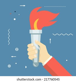 Victory Flame Symbol Hand Hold Fire Torch Icon Template on Stylish Background Modern Flat Design Vector Illustration