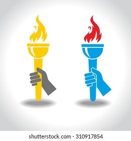 Victory Flame Symbol Hand Hold Fire Torch Icon Design Template Vector Illustration