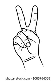 Victory hand sign. Hand showing two finger flat vector on white background.