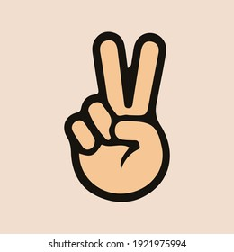 Victory Hand vector icon. V sign isolated Peace emoji design.