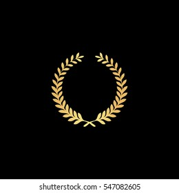 Victory laurel wreath. Gold symbol icon on black background