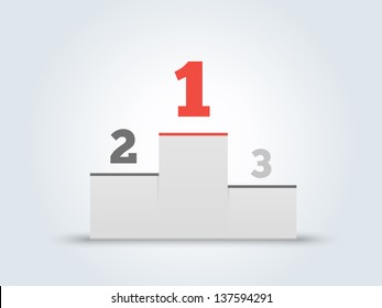 Victory podium with first, second and third places on gray background. Vector illustration.
