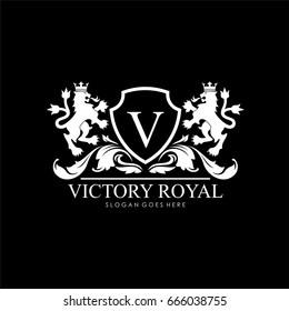 Victory royal lion brand logo design vector