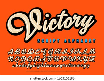 Victory script alphabet. A cursive lettering style in neutral tones with thick black outline shadows and highlights. Great branding font for hip fashion or sports.