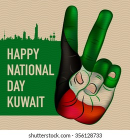 Victory Sign Hand Painted In Kuwait's National Flag Vintage Poster