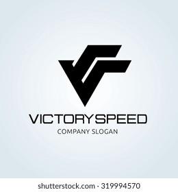 Victory V letter Logo template