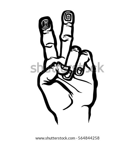Victory Vote Symbol Hand Sign Art Stock Vector Royalty Free