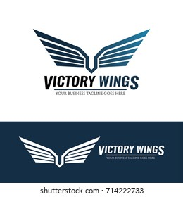 Victory wings logo design template. Vector illustration