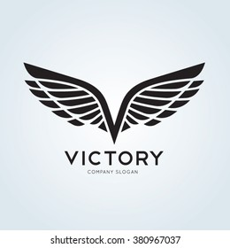 Victory,Wing,V letter, Eagle Vector logo template