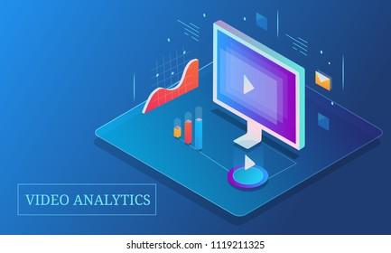 Video analysis, Marketing data analytics, Video marketing - 3D isometric design conceptual banner