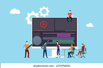 video animation or movie production team working together on the office using software development - vector