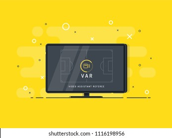 Video Assistant Referee. Soccer / football VAR System on the TV screen. Trendy flat vector on yellow background.