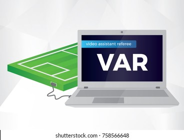 Video Assistant Referee Vector Illustration. Football, Soccer VAR System with Computer and Football Pitch Illustration.