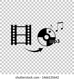 Video to audio converter sign. Black icon on transparent background. Illustration.