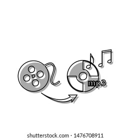 Video to audio converter sign. Black line icon with gray shifted flat filled icon on white background. Illustration.