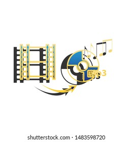Video to audio converter sign. Blue icon with gold contour with dark gray shadow at white background. Illustration.