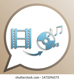 Video to audio converter sign. Bright cerulean icon in white speech balloon at pale taupe background. Illustration.