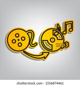 Video to audio converter sign. Flat orange icon with overlapping linear black icon with gray shadow at whitish background. Illustration.