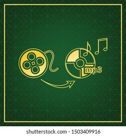 Video to audio converter sign. Golden icon with gold contour at dark green gridded white background. Illustration.