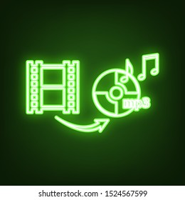 Video to audio converter sign. Green neon icon in the dark. Blurred lightening. Illustration.