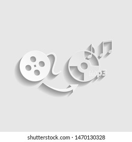 Video to audio converter sign. Paper style icon. Illustration.