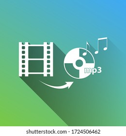 Video to audio converter sign. White Icon with gray dropped limitless shadow on green to blue background. Illustration.