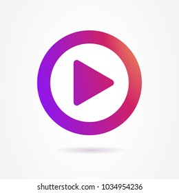 Video, audio play icon, symbol, button, sign gradient color Instagram. Video play pictogram. Video play line icon, ui, app. Play outline icon colorful gradient Insta. Vector illustration. EPS 10.