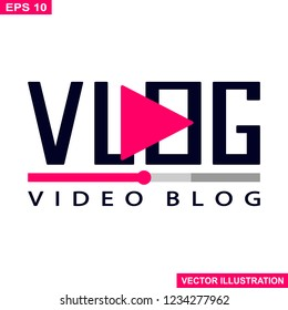 Video blog logo,vlog icon.Vector illustration.White background