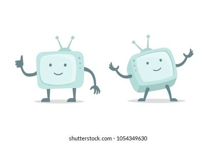 Video bloger. Video channel, cinema tv with arms and legs character set. Flat color vector illustration